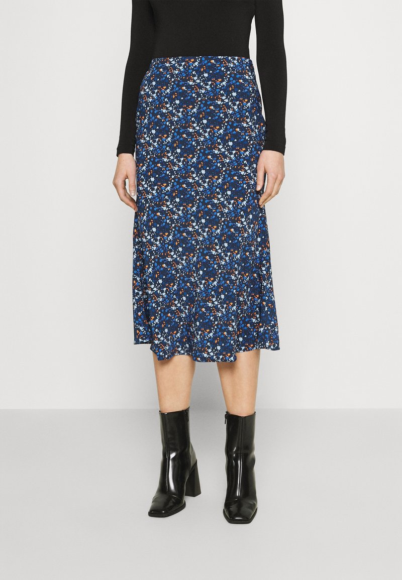 Glamorous - CARE FLORAL PRINTED MIDI SKIRT - A-line skirt - navy blue/ orange