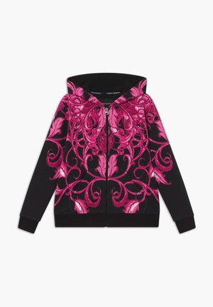 Zip-up hoodie - black/pink