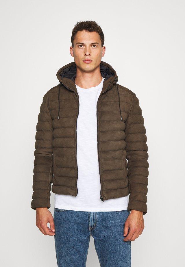 WARMER - Leather jacket - khaki