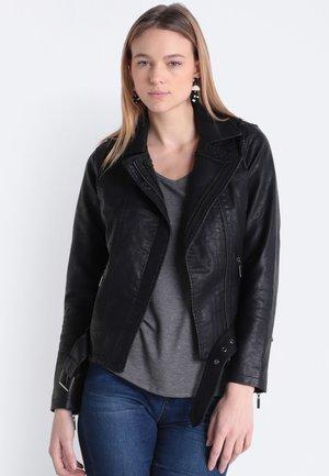 MIT PERLENBESATZ - Faux leather jacket - black