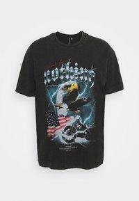 Good For Nothing - OVERSIZED ACID WASH EAGLE UNISEX - Print T-shirt - grey - 0