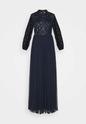 BISHOP SLEEVE DELICATE SEQUIN  WITH KEYHOLE - Vestido de fiesta - navy
