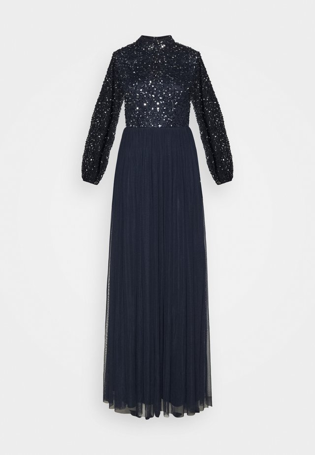 BISHOP SLEEVE DELICATE SEQUIN  WITH KEYHOLE - Galajurk - navy