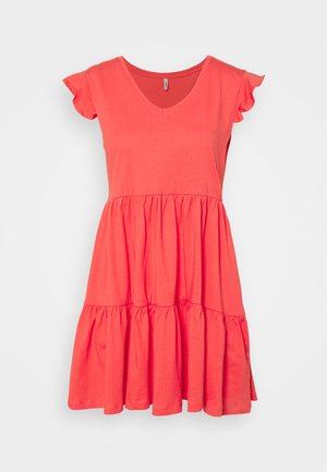ONLMAY LIFE CAP SLEEVES FRILL DRESS - Jersey dress - cayenne