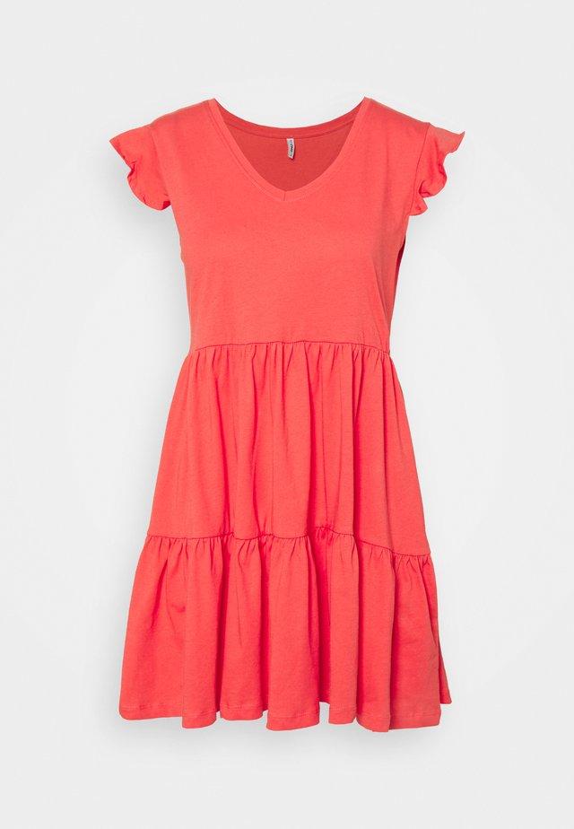 ONLMAY LIFE CAP SLEEVES FRILL DRESS - Jersey dress - cayenne