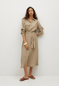 Mango - MIT TEXTUR - Shirt dress - beige - 1