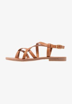 ONLMANDALA CROSSOVER  - T-bar sandals - cognac