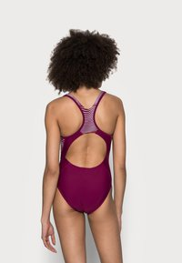 Speedo - ALLOVER PANEL LANEBACK - Swimsuit - deep plum/white/orange fizz - 2