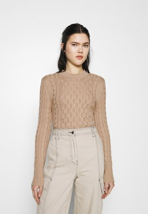 CABLE ROUND NECK SWEATER - Neule - light beige