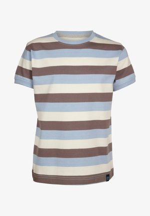 Print T-shirt - lightblue-brown