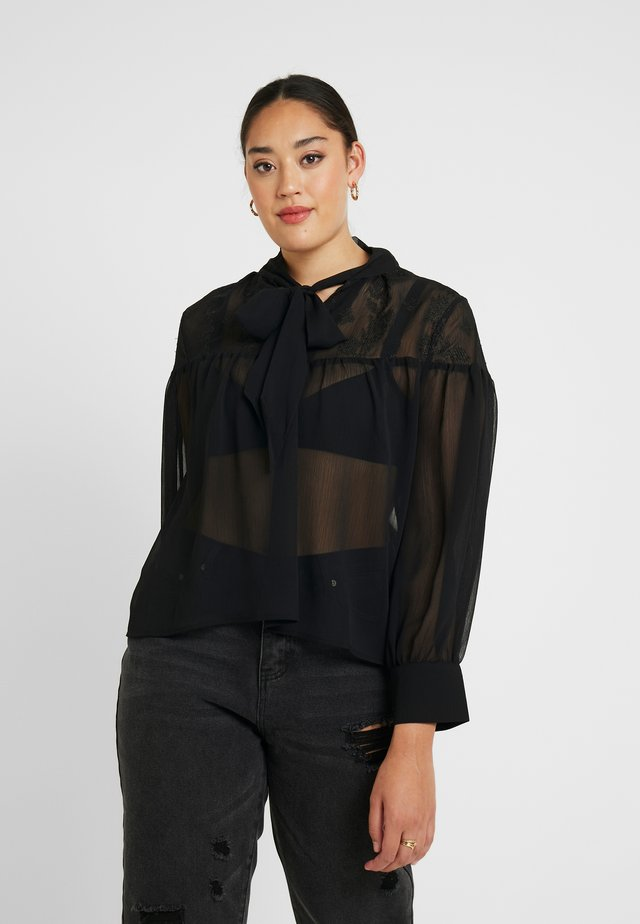 TIE NECK BLOUSE - Bluser - black