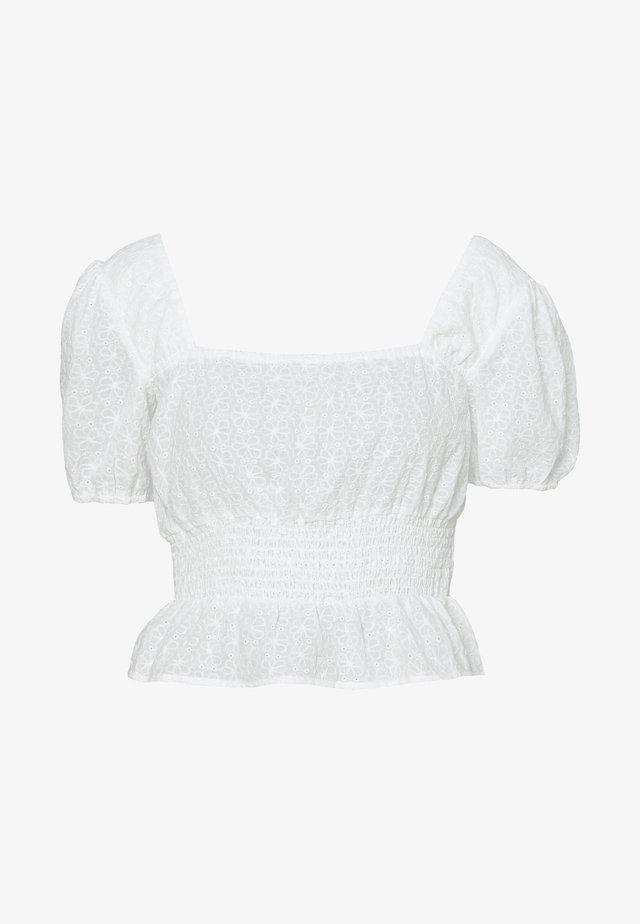 SQUARE NECK CROPPED BLOUSE - Bluzka - white
