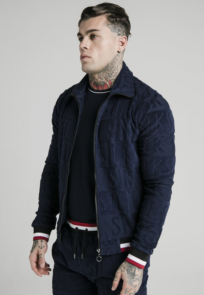 SIKSILK - INVERSE HIGH NECK - Sweatshirt - navy/red/white