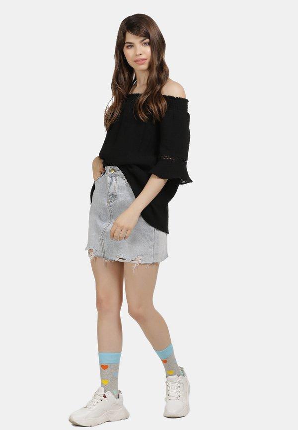 myMo OFF-SHOULDER BLUSE - Bluzka - schwarz Kolor jednolity Odzież Damska UYJI WH 2