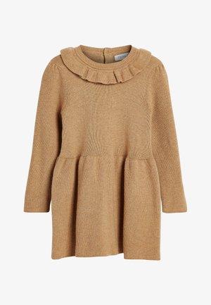 FRILL NECK - Gebreide jurk - beige