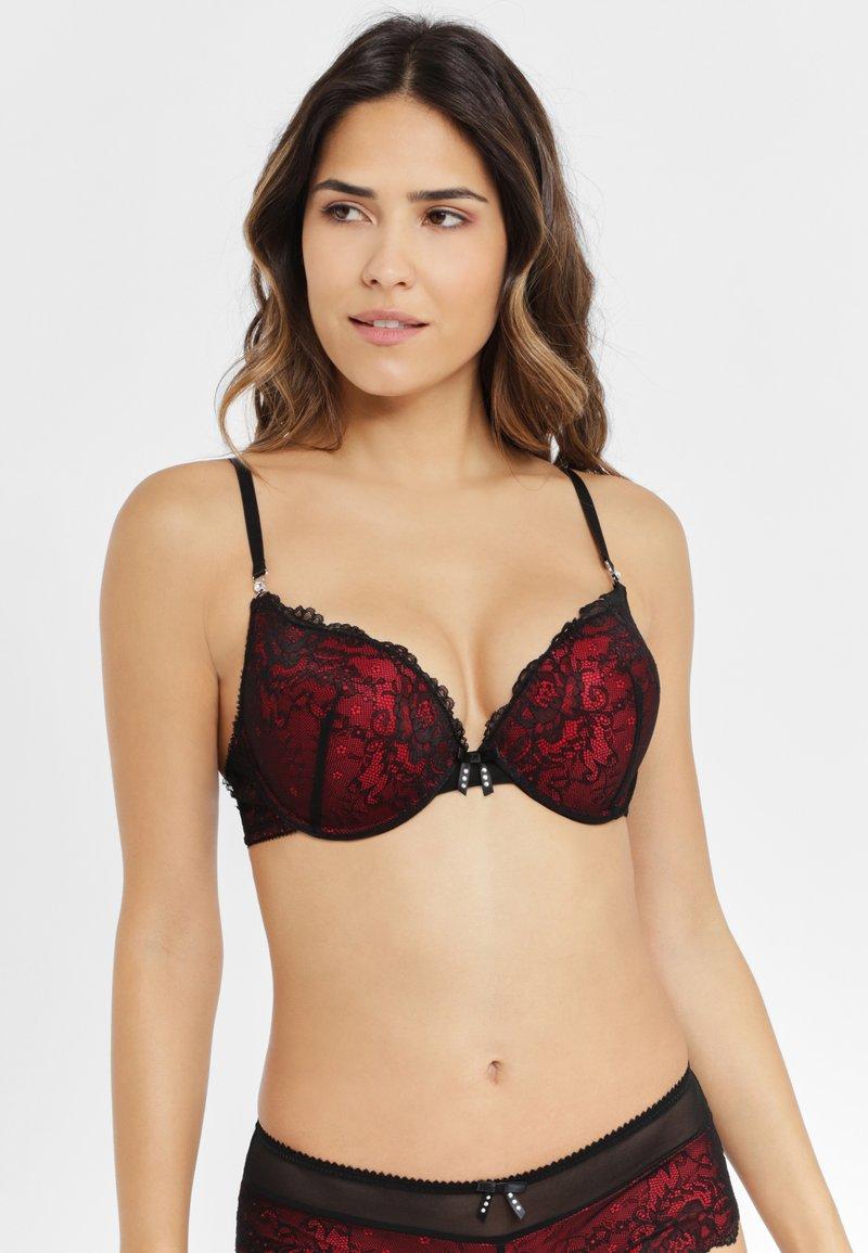 JETTE - Push-up bra - dark red/black