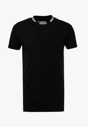 HIGH COLLAR LOGO TEE - Jednoduché triko - black/white
