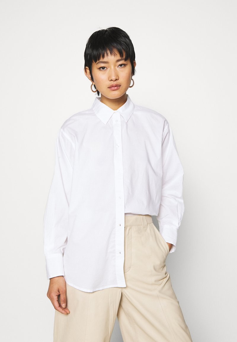 TOM TAILOR - BLOUSE SOLID LOOSE SHAPE - Button-down blouse - white
