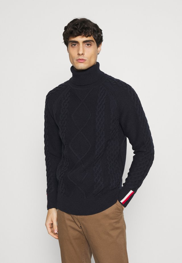 ICON CABLE ROLL NECK - Pullover - blue
