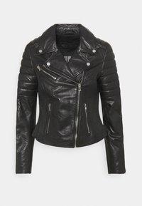 COOL BIKER - Leather jacket - black