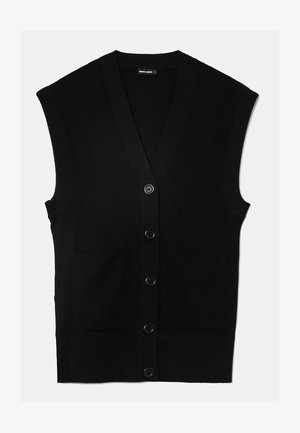 TOP MIT V-AUSSCHNITT - Cardigan - black