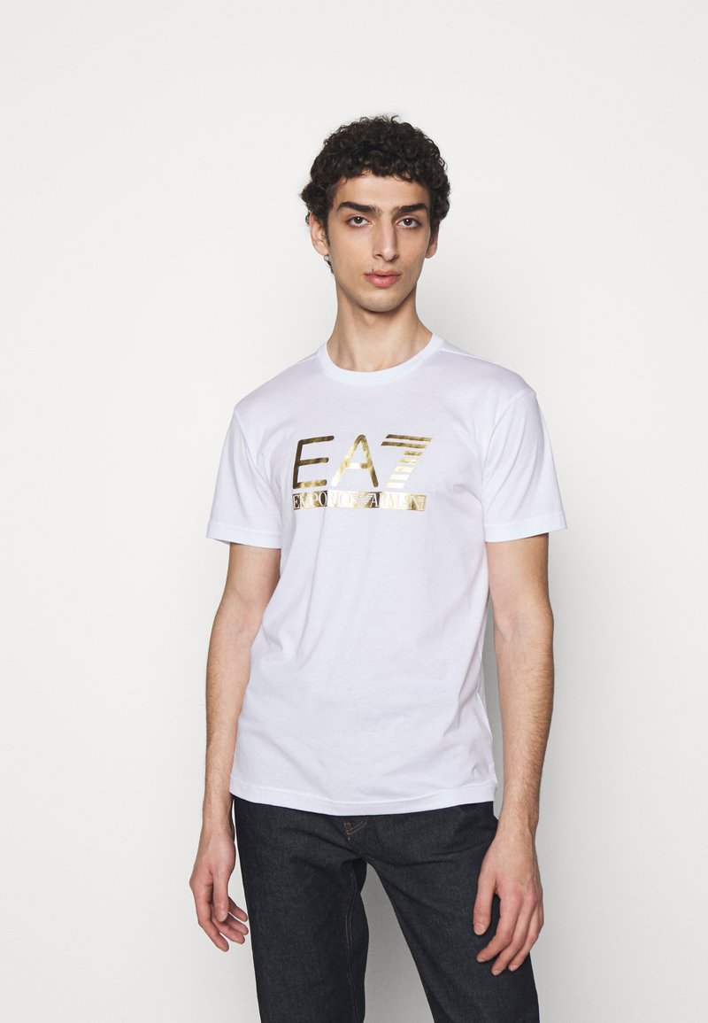 EA7 Emporio Armani - Print T-shirt - white/gold