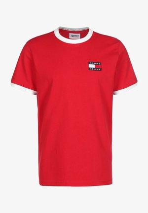 Print T-shirt - deep crimson / white
