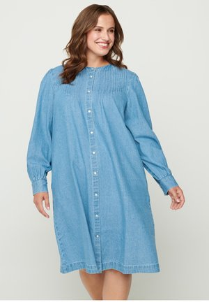 WITH PUFF SLEEVES - Denim dress - blue