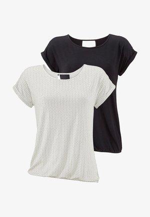 2 pack - Print T-shirt - offwhite-gemustert+schwarz-uni
