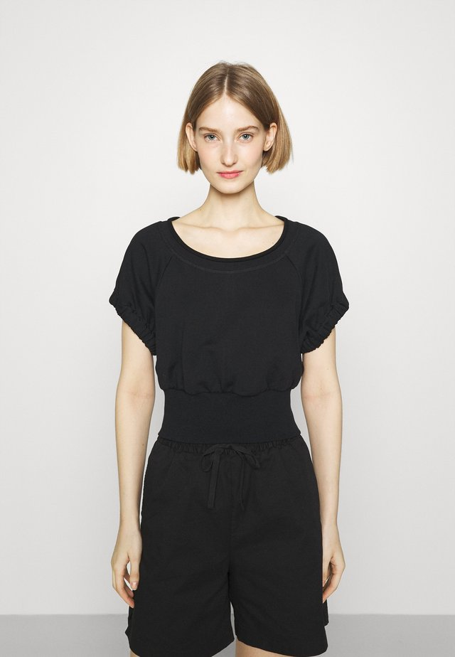 SHIRRED BALLERINA NECK FRENCH TERRY  - Sweater - black