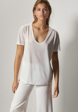 SCOOP NECK  - Basic T-shirt - white