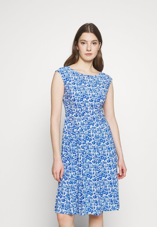 PRINTED MATTE DRESS - Jersey dress - off-white/blue