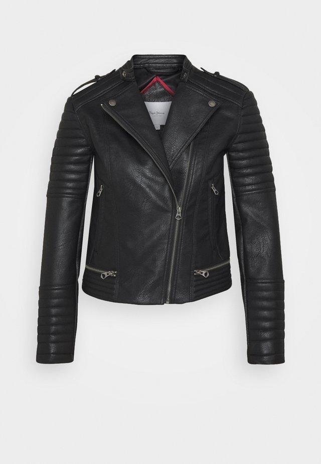 LENNA - Imitatieleren jas - black