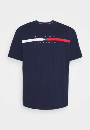 GLOBAL STRIPE CHEST TEE - T-shirt con stampa - yale navy