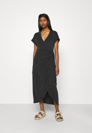 ENLIE SOFT WRAP DRESS - Jerseykjole - black dark