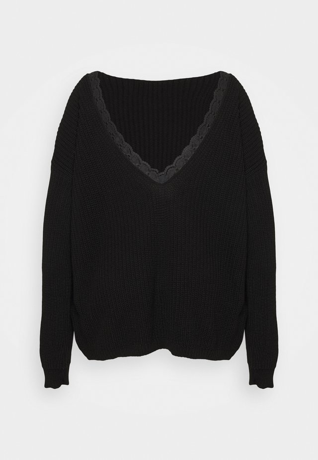TRIM JUMPER - Sweter - black