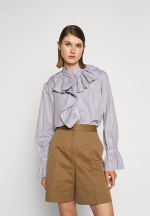 RUFFLE SHIRT - Blouse - white/grey