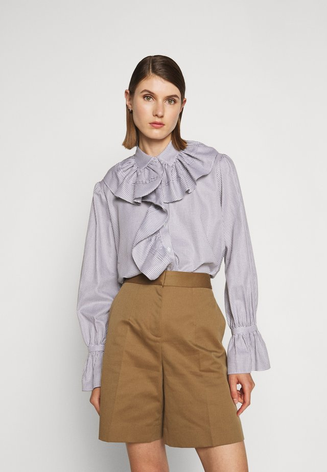 RUFFLE SHIRT - Bluse - white/grey