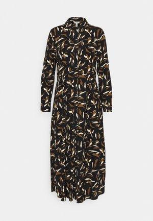 OBJLORENA LONG SHIRT DRESS - Shirt dress - black sepia/sandshell