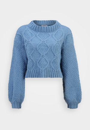 KNITTED CROP JUMPER WITH LONG SLEEVES AND BOAT NECK - Trui - heritage blue