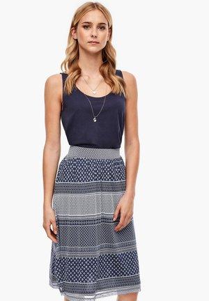 A-line skirt - navy stripes aop