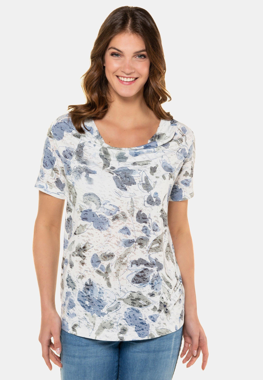 Damen GEBLÜMT, WASSERFALL-AUSSCHNITT, AUSBRE - T-Shirt print