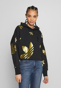 adidas Originals - ADICOLOR LARGE LOGO CROPPED HODDIE SWEAT - Sweat à capuche - black/gold - 0