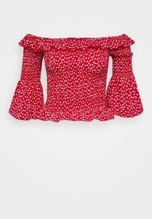 DITSY SHIRRED BARDOT - Blouse - red