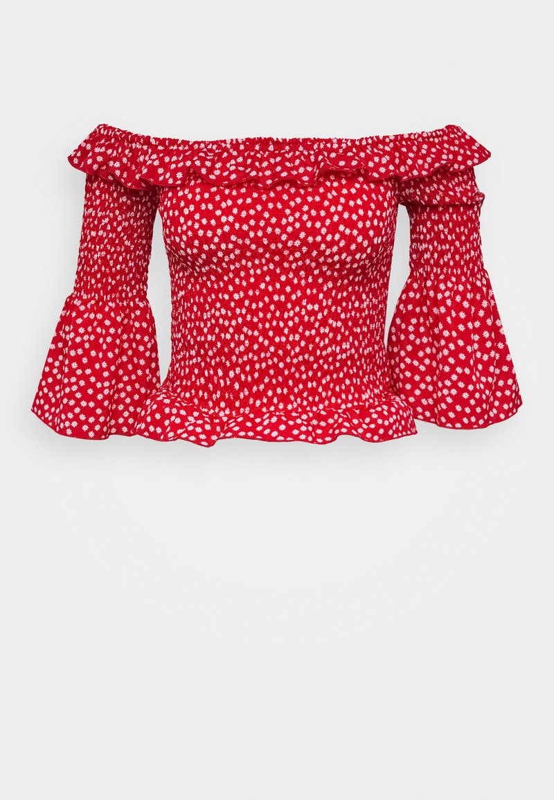 Missguided Tall - DITSY SHIRRED BARDOT - Blouse - red