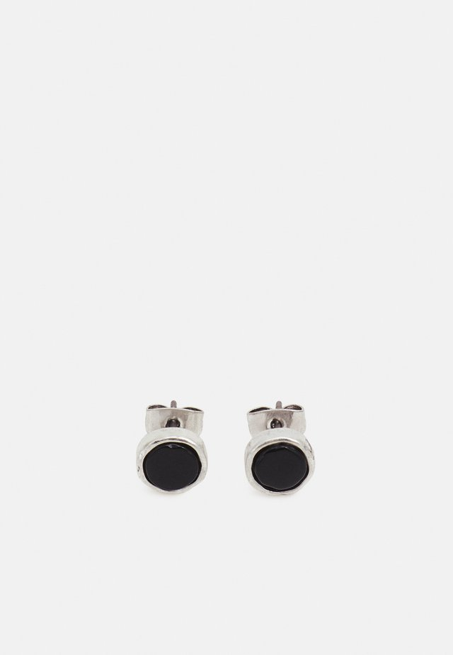 CRACKED ROUND COMPOSITE STUD EARRINGS - Korvakorut - silver-coloured