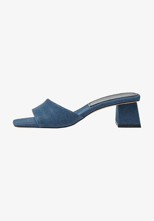 Heeled mules - blue black denim