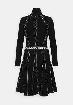 CONTRAST DRESS - Gebreide jurk - black