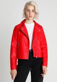 Even&Odd - Imitatieleren jas - red - 0