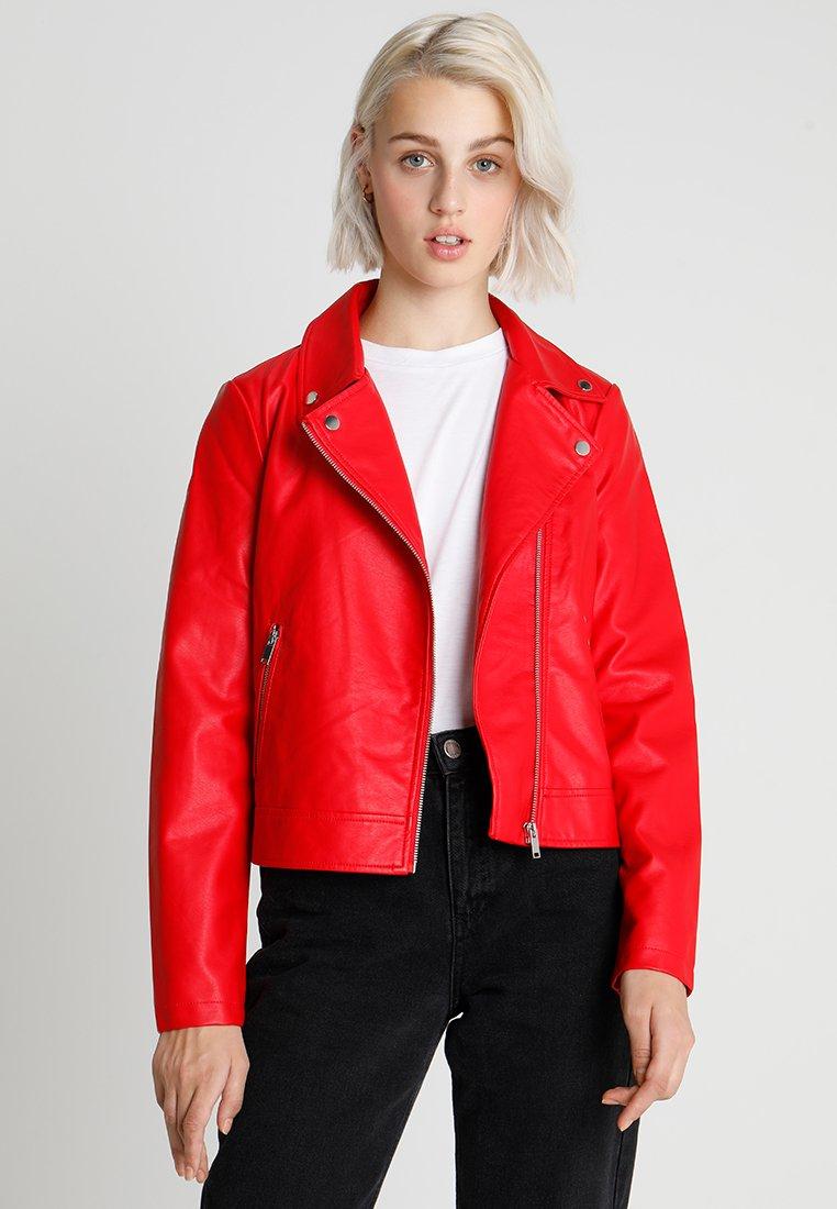 Even&Odd - Imitatieleren jas - red